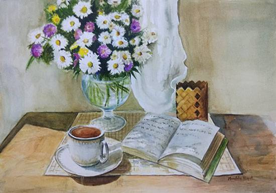 Tea, Book and Flowers, Painting by Mrudula Bapat