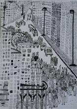 Painting  by Dighi Banerjee - Cityscape - 2