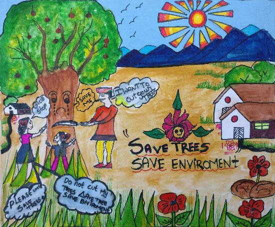 Painting  by S Shriya - Save Trees