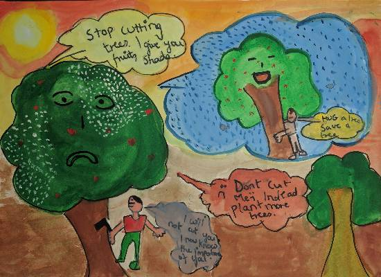 Painting  by Aabha Ashutosh Karle - Thoughts to save trees