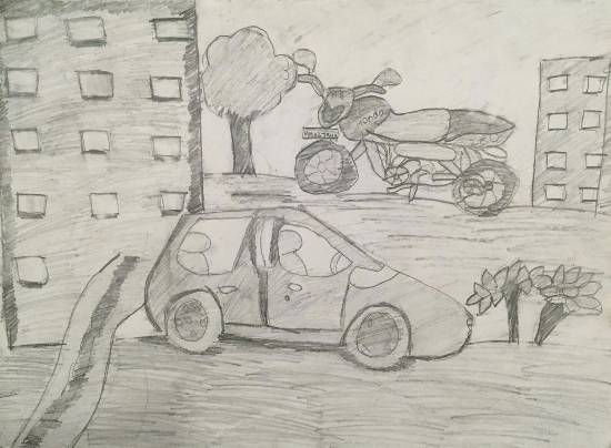 painting by Aabha Ashutosh Karle - Car