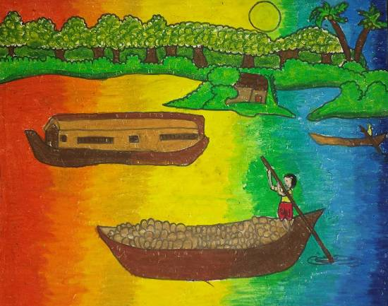 Painting  by Arushi Deepak Nisal - Boats