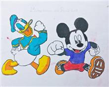 Painting  by Prisha Amit Kulkarni - Micky and Donald