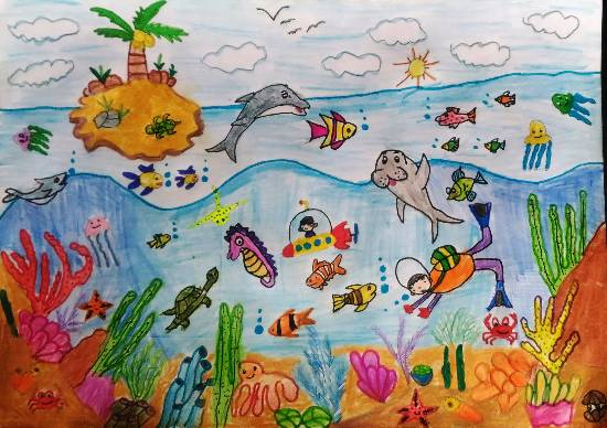 painting by Hanshal Banawar - Under sea world