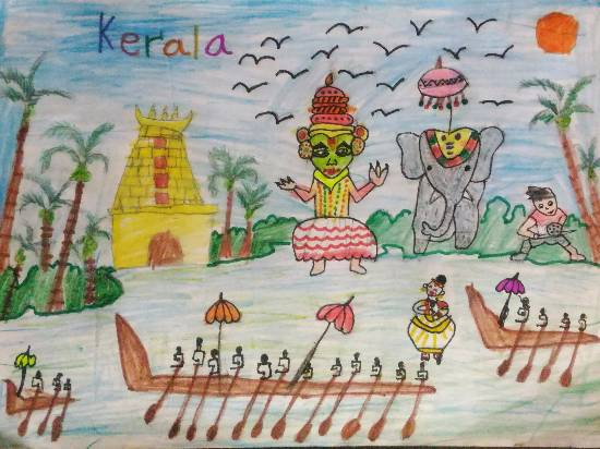 painting by Hanshal Banawar - Kerala the land of beauty