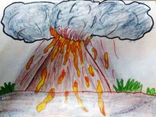 painting by Hanshal Banawar - Volcanic eruption