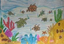 Painting  by Hanshal Banawar - Turtles in the ocean