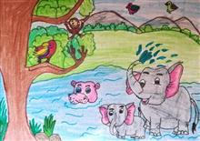 Painting  by Hanshal Banawar - Jungle pool