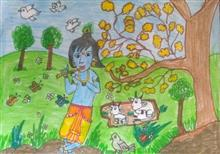 Painting  by Hanshal Banawar - Little Krishna
