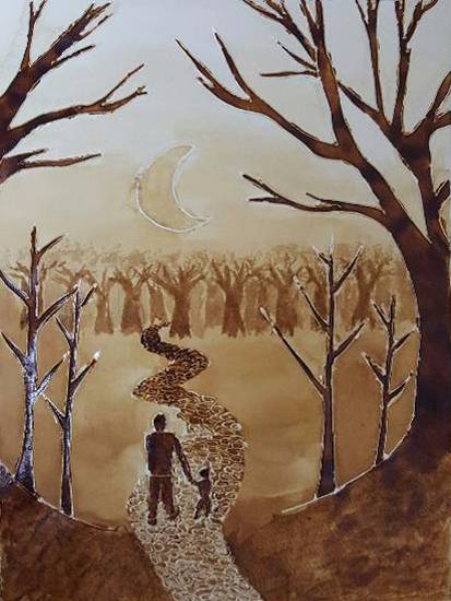 painting by Aabha Sumangal Kanvinde - The lost destination