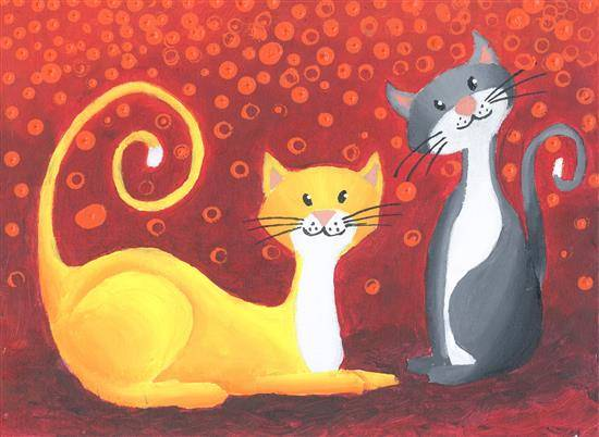 Cats, painting by Aabha Sumangal Kanvinde