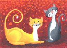 Painting  by Aabha Sumangal Kanvinde - Cats