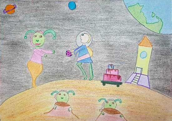 Painting  by Sharanya Mallick - Fun time with my alien friends