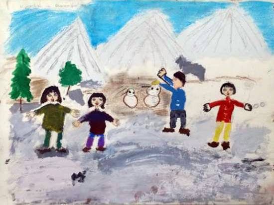 Painting  by Aashvi Ashutosh Karle - Children playing in the snow