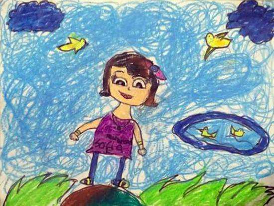 Painting  by Aashvi Ashutosh Karle - Girl enjoying the nature