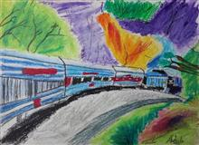 Painting  by Adeeb Singh - Train Journey