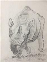 Painting  by Adeeb Singh - The Rhino