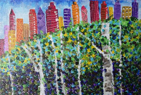 Painting  by Alika Hiren Parmar - Trees vs buildings
