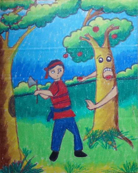 Painting  by Anurag Bhattacharjee - Don't cut trees