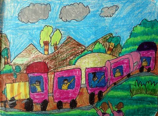 painting by Heet Bagrecha - Memorable Train journey