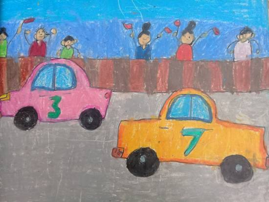 Painting  by Heet Bagrecha - Car race