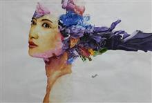 Female portrait with sea of wispy colors, Painting by Pankti Jain