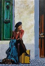 A young girl waiting for someone on the street, Painting by Pankti Jain