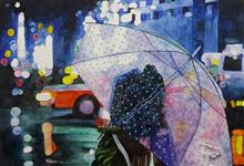 Painting by Pankti Jain - A girl with umbrella on street at night....