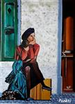 Paintings by Pankti Jain - A young girl waiting for someone on the street - 2