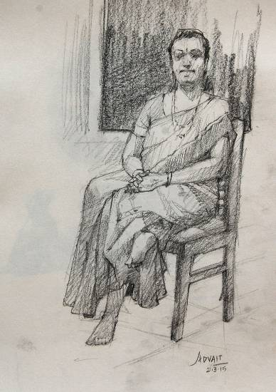 Woman, painting by Advait Kishor Nadavdekar