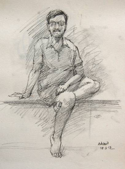 Painting  by Advait Kishor Nadavdekar - Sitting Man
