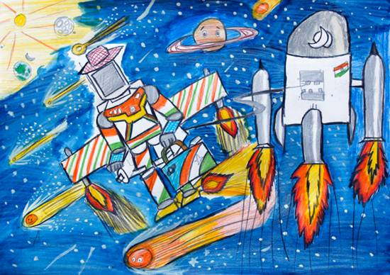 Painting  by Advait Ravi Sapkal - Outer space