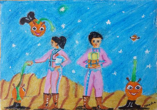 Painting  by Abhipsha Chakrabarti - Hello Aliens!