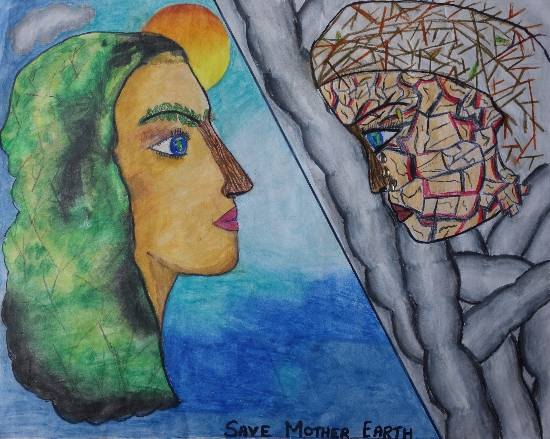Painting  by Aishwarya Ramachandran - Save Mother Earth