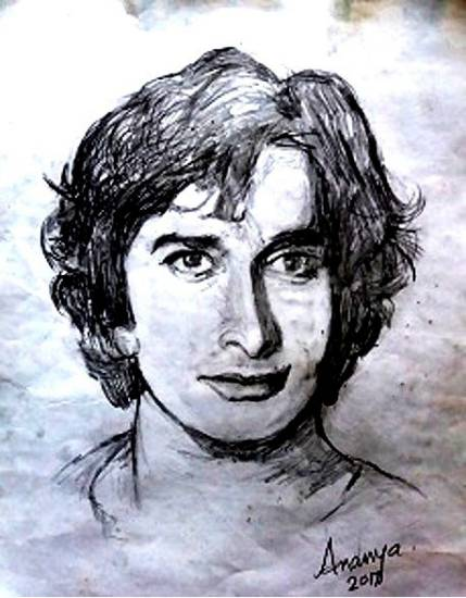 painting by Ananya Aloke - Portrait of Late actor Shashi Kapoor
