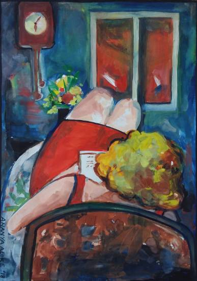 Woman reading, painting by Ananya Aloke