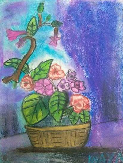 painting by Anaya Bhola - Flower basket
