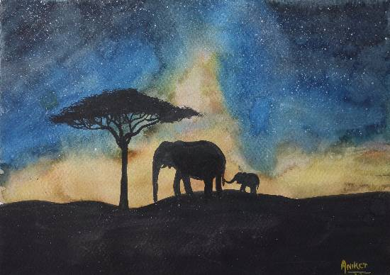 Painting  by Aniket Jena - Elephants