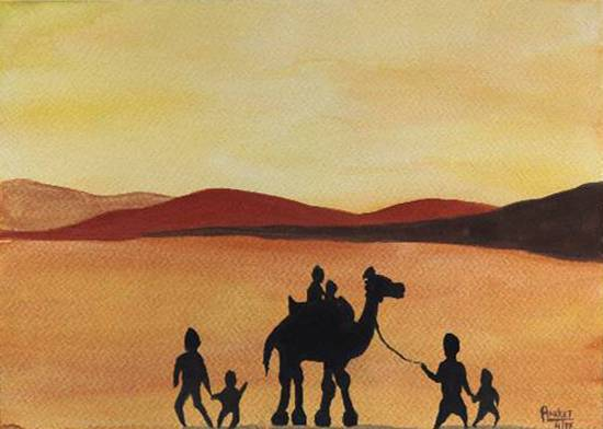 Painting  by Aniket Jena - Camel ride