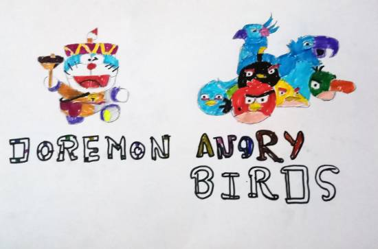 Painting  by Dhaval Mawal - Doraemon and Angry bird