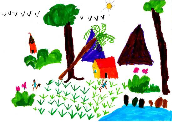 painting by Adarsh Sudheer Aleti - Village
