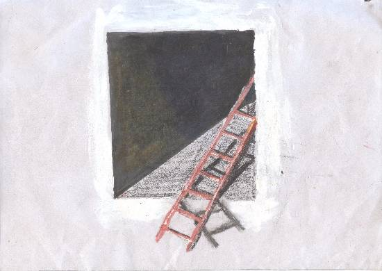 painting by Harmandeep Kaur - Ladder to roof