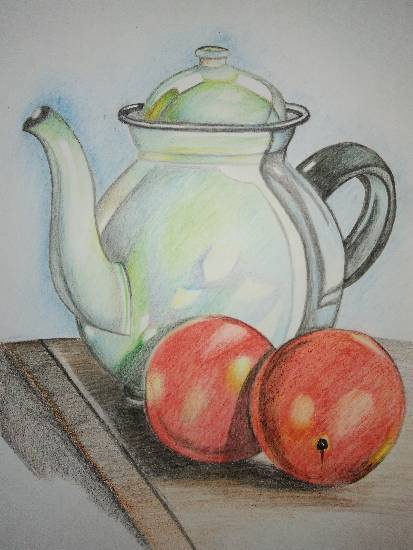 Painting  by Manas Chawla - Still Life with Pencils