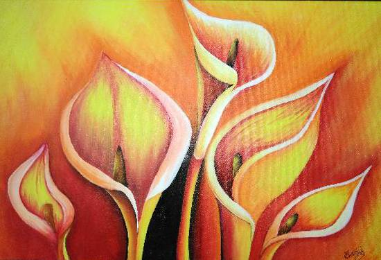 Painting  by Manas Chawla - Warm Flowers