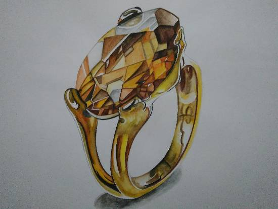 Painting  by Manas Chawla - A Golden Topaz Ring