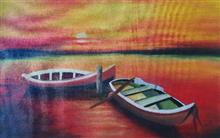 Painting  by Manas Chawla - Two Boats