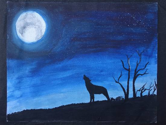 Painting  by Mahroonisha  - The Full Moon Night