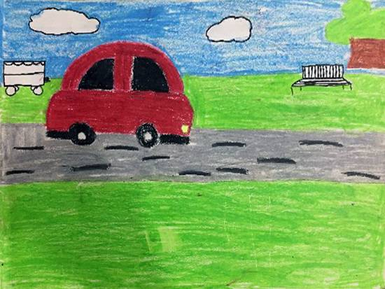 Painting  by Riya Satyaprasad Bhat - Car