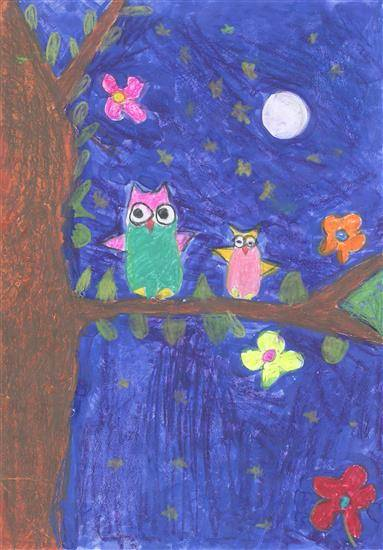 painting by Amelia Ajith John - Owls at night