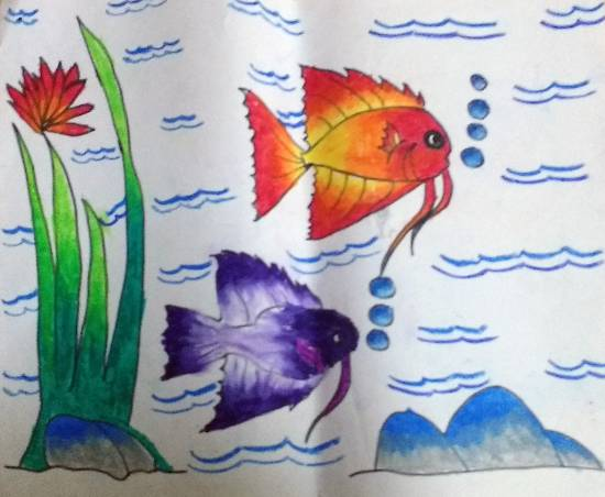 painting by Sejal Vishnu Khandelwal - Fishes